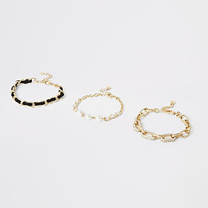 Gold colour stacking bracelets