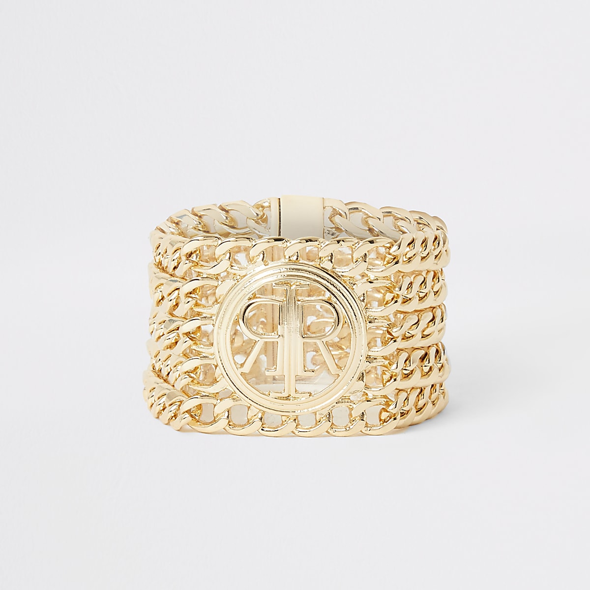 Goudkleurige met kettingen gelaagde armband en RI-logo