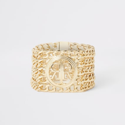 Gold colour RI chain layered bracelet