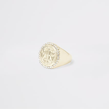 Gold colour RI signet ring