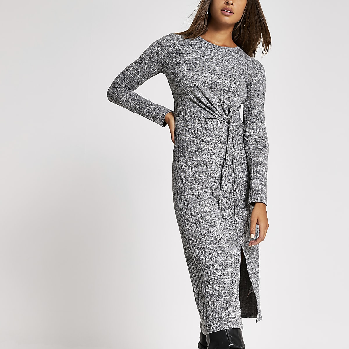 Grey long sleeve twist front midi dress