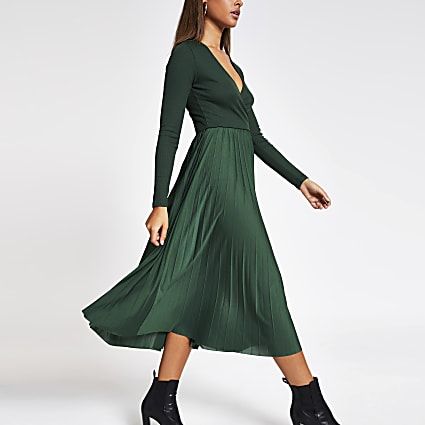 Khaki wrap pleated midi dress