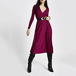 Donkerrode geplooide overslag midi-jurk