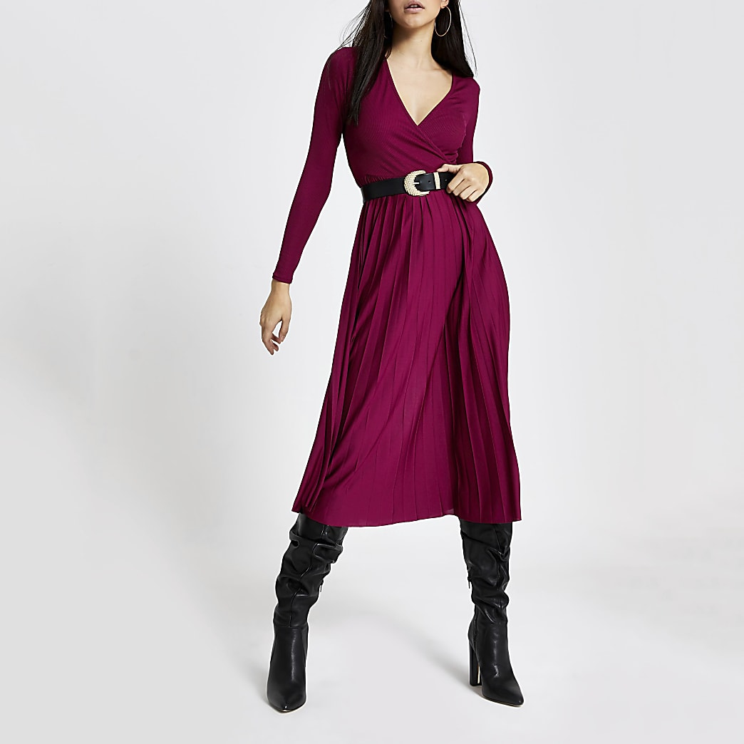 Dark red wrap pleated midi dress