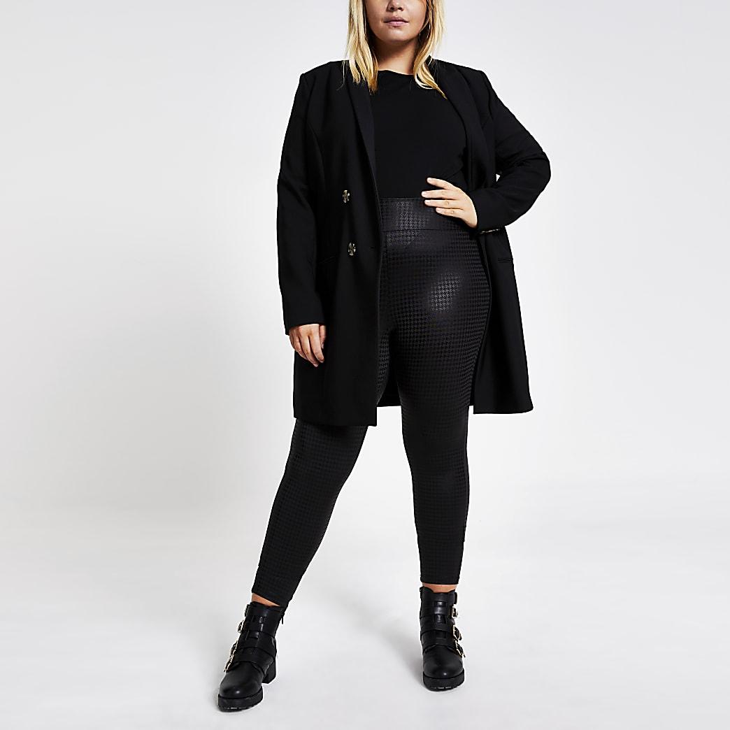 Plus black coated dogtooth leggings
