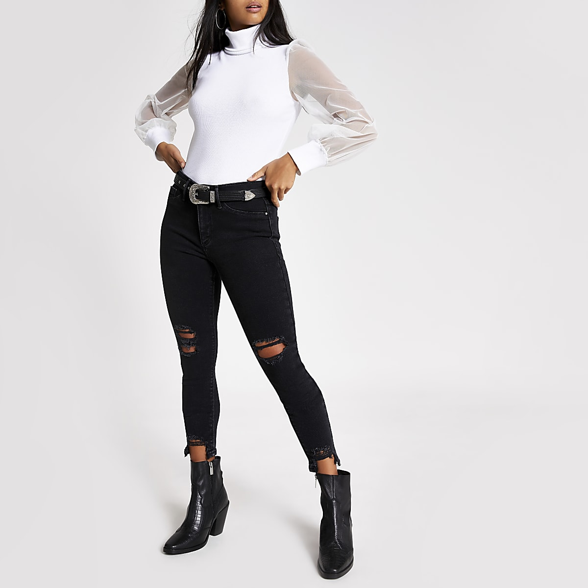 Petite white long mesh sleeve jumper