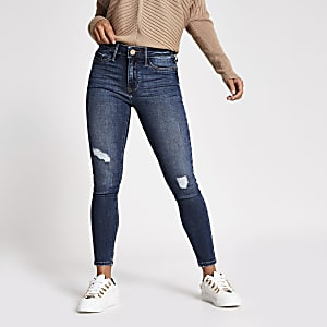 Petite – Mittelblaue Molly Skinny Jeggings im Used-Look