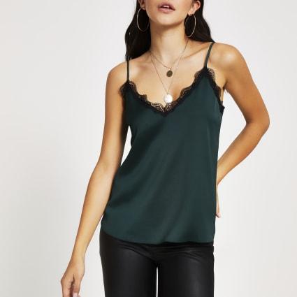 Dark green lace trim cami top