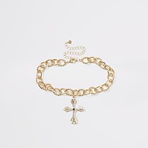 Goldfarbene Choker-Halskette mit Kreuzanhänger