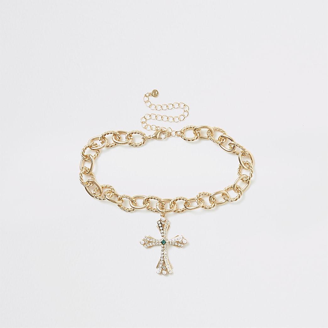 Gold colour cross pendant choker necklace