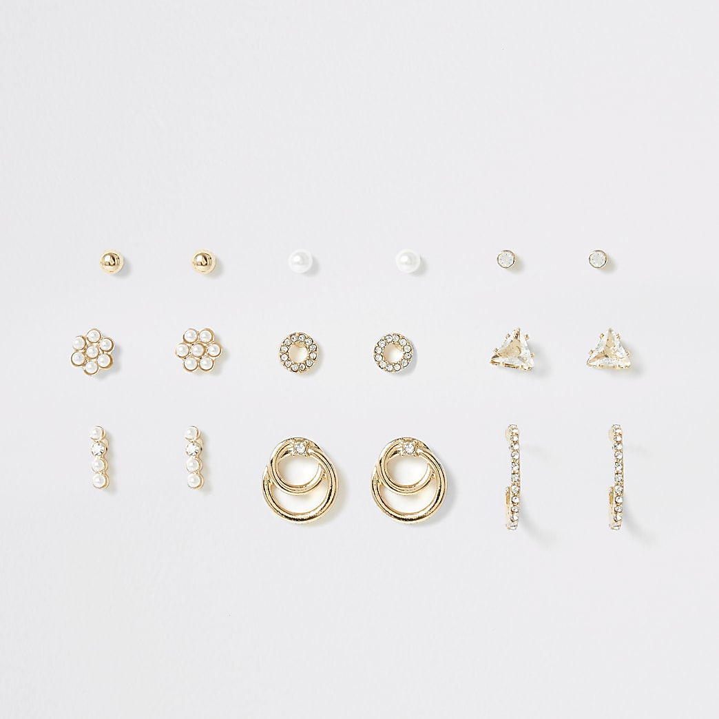 Gold colour pearl earrings multipack