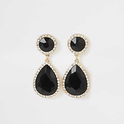 Black stone diamante drop earrings
