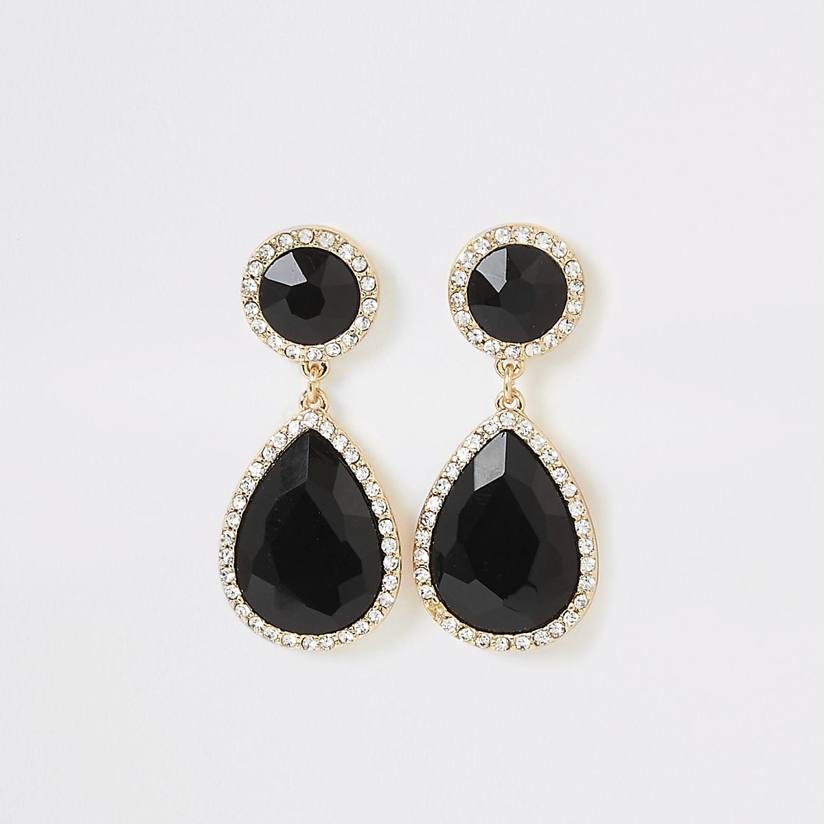 Black stone diamante drop earrings