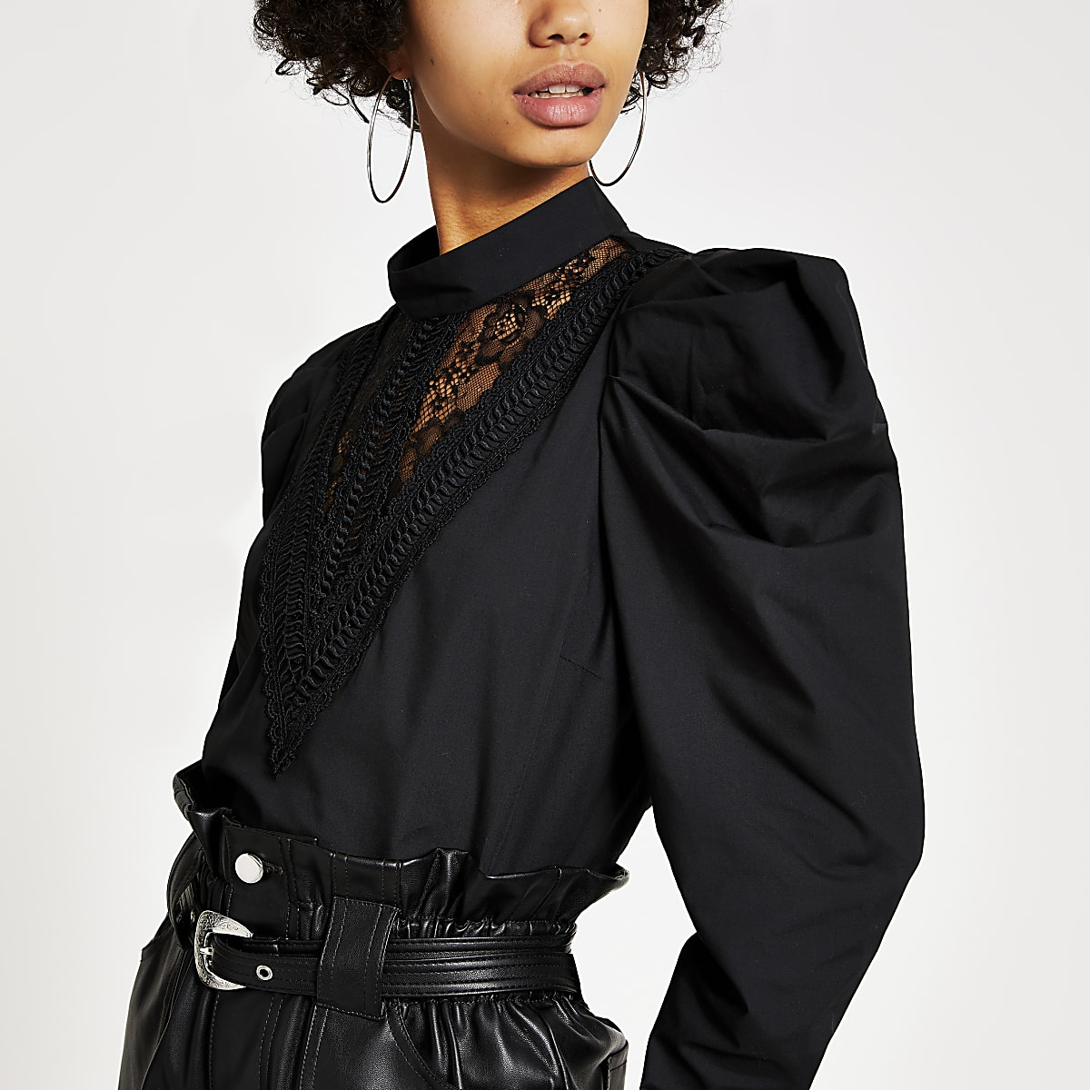 Black lace panel high neck top
