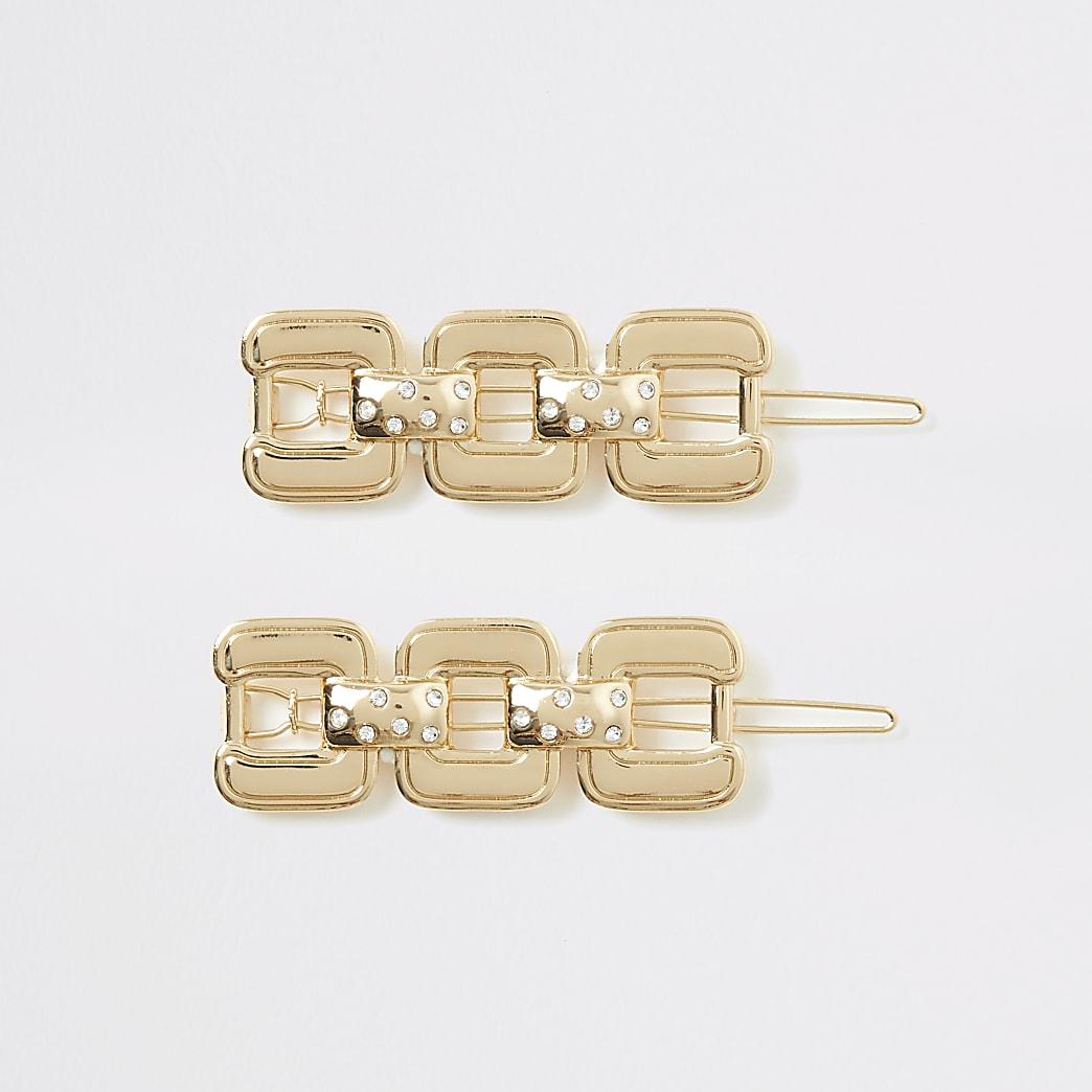 Goldfarbenes Haarspangen-Set mit Quadraten