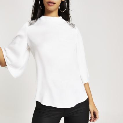White diamante embellished blouse