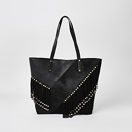 Black leather fringe studded shopper tote bag