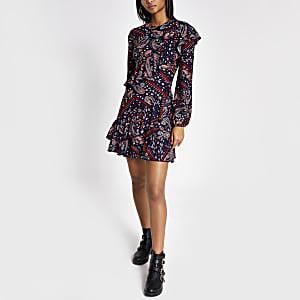 Blue paisley print ruffle swing dress