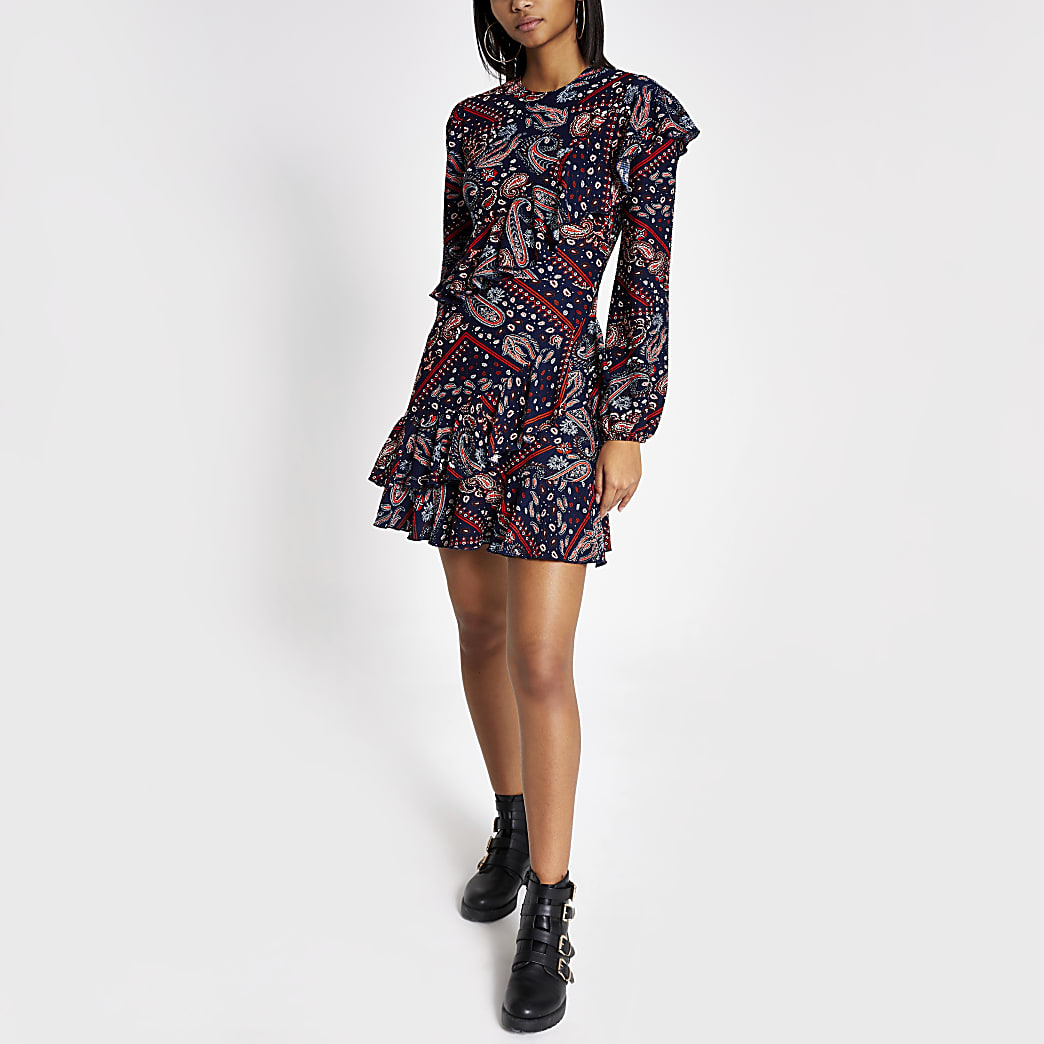 Blue paisley print ruffle swing dress