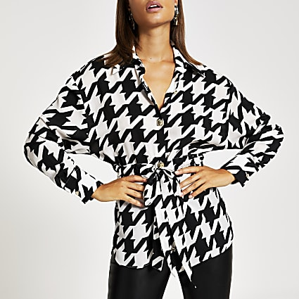 Black houndstooth tie waisted shirt