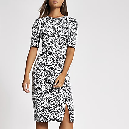 White jacquard short puff sleeve midi dress
