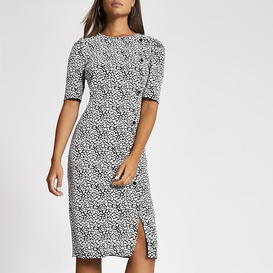 White jacquard short puff sleeve midi dress