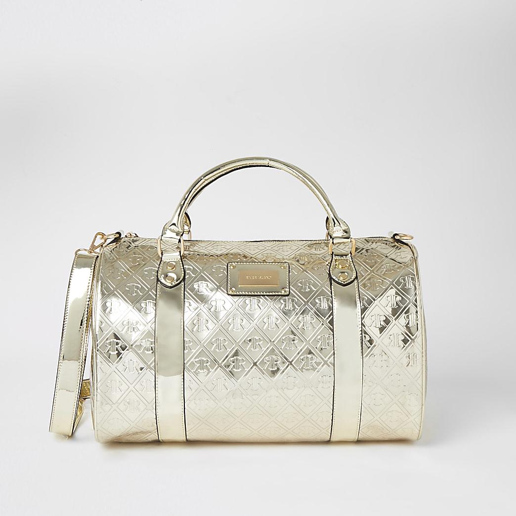 Gold RI embossed weekend duffle bag
