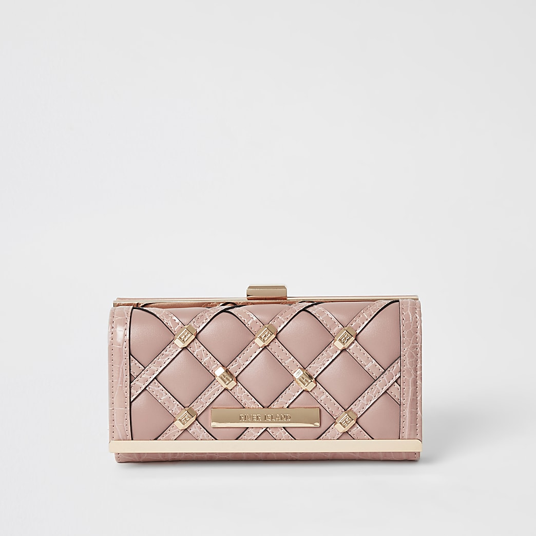 Pink studded cliptop purse