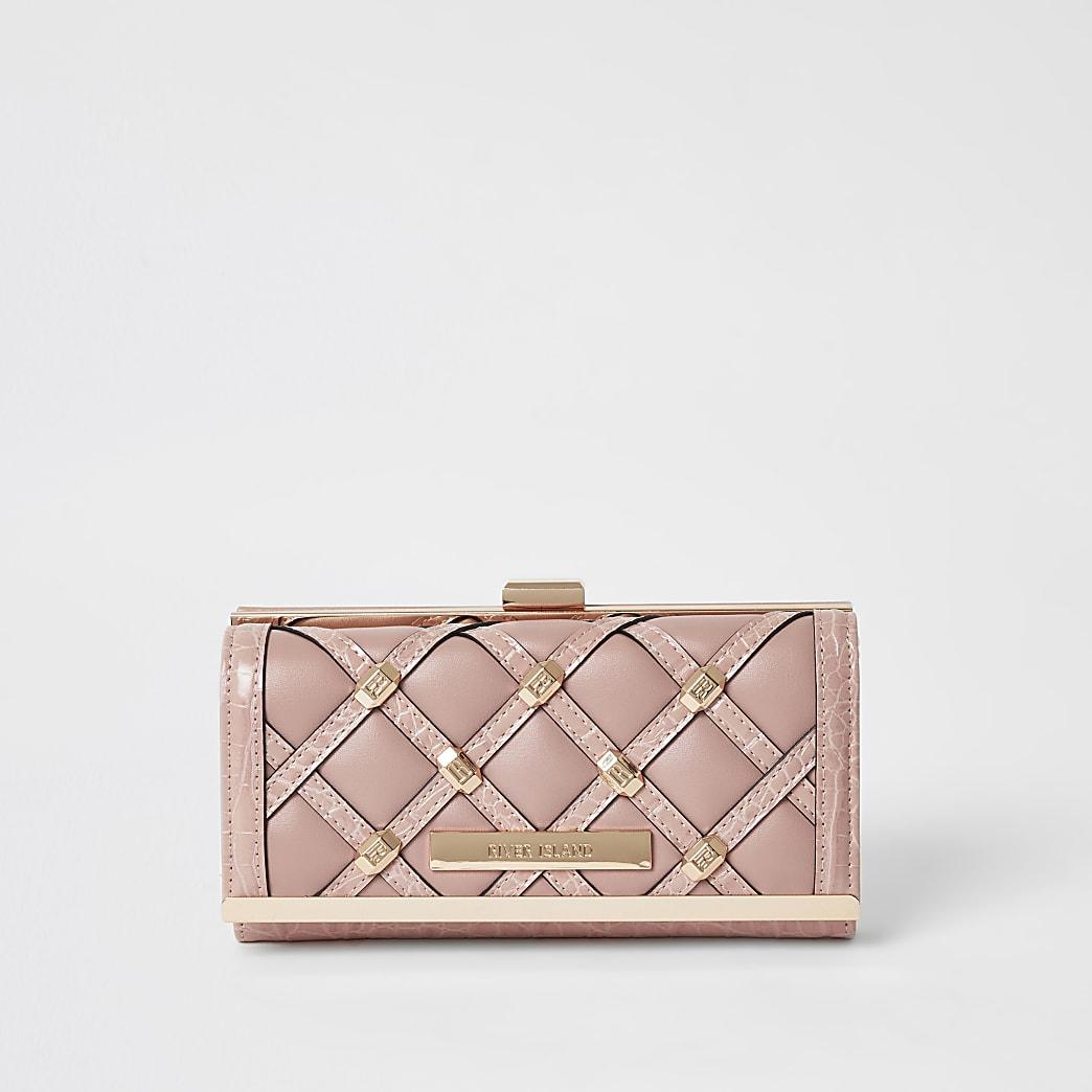 Roze portemonnee met druksluiting met studs