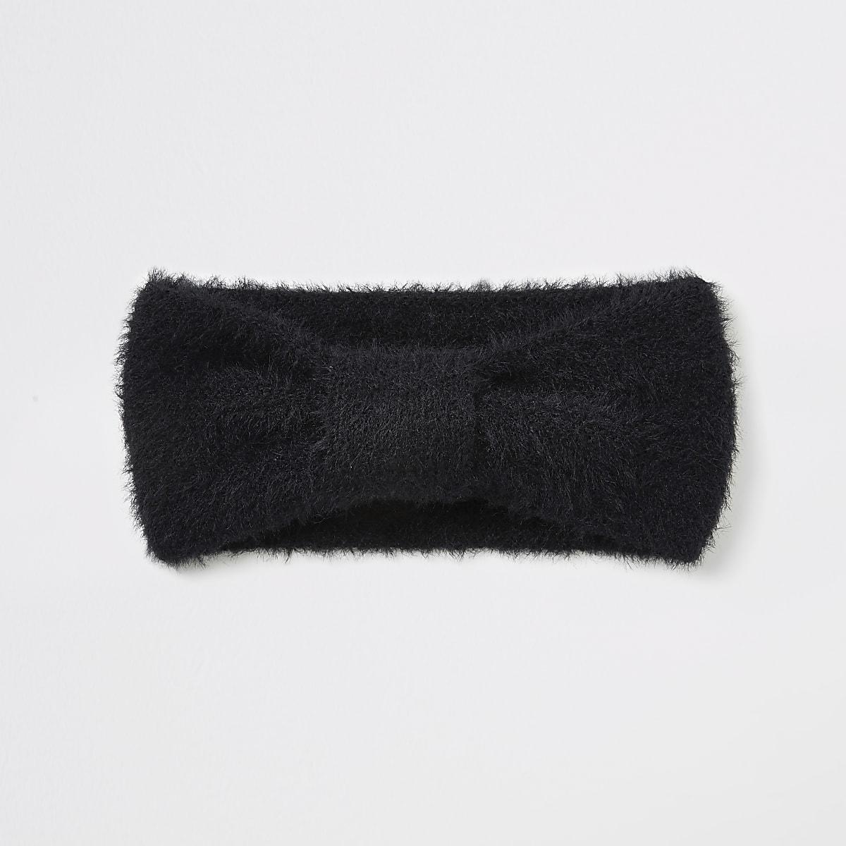 Zwarte pluizige gebreide hoofdband met strik voor