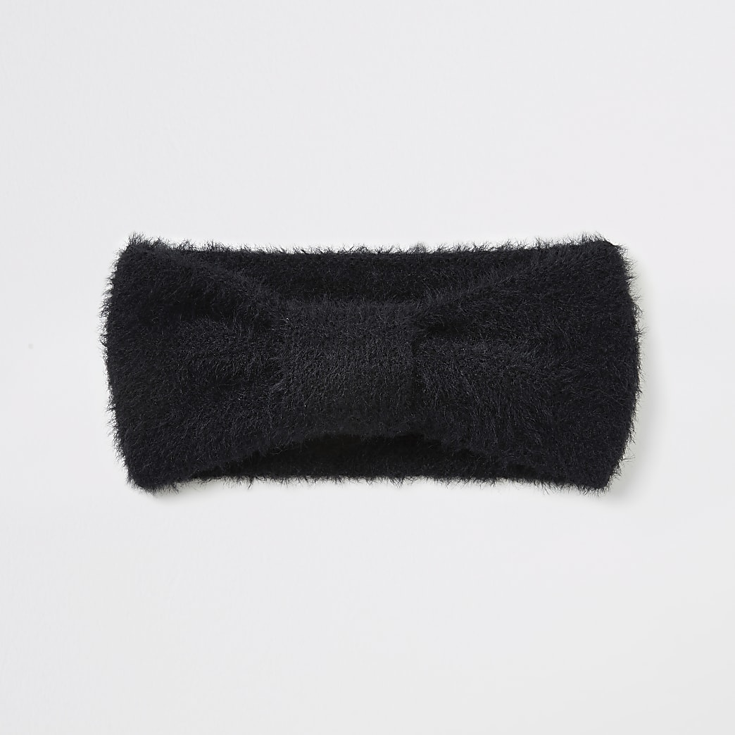 Black bow front fluffy knit headband