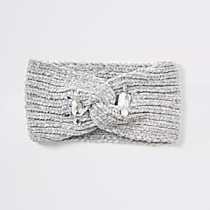 Graues Haarband aus Chenille mit Verzierung