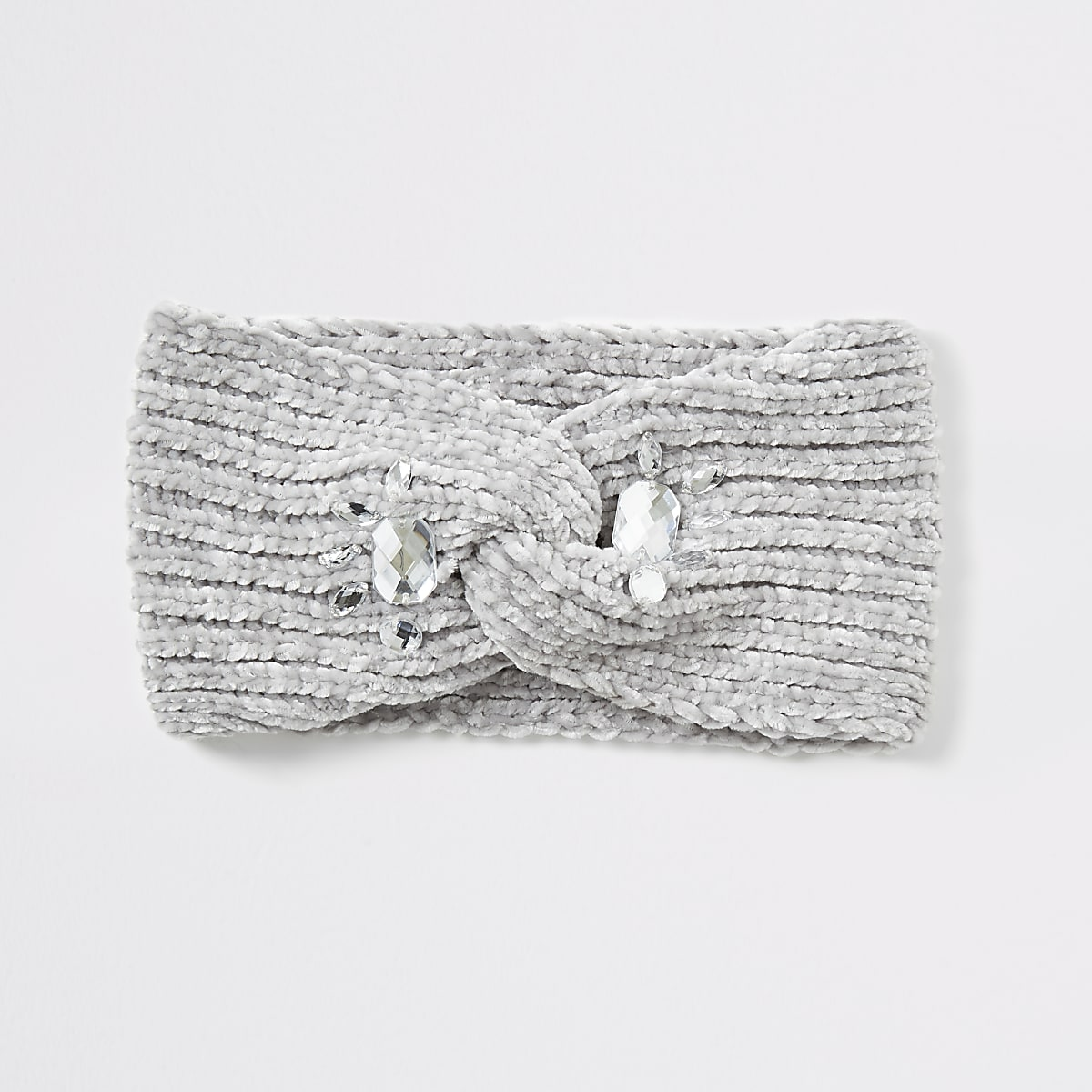Grey chenille embellished headband