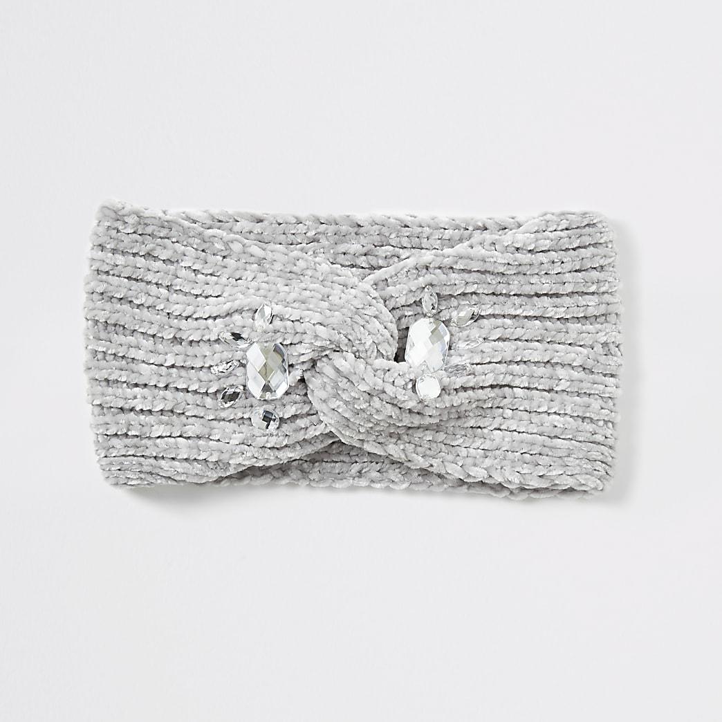 Grijze verfraaide chenille hoofdband