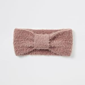 Roze pluizige gebreide hoofdband met strik voor