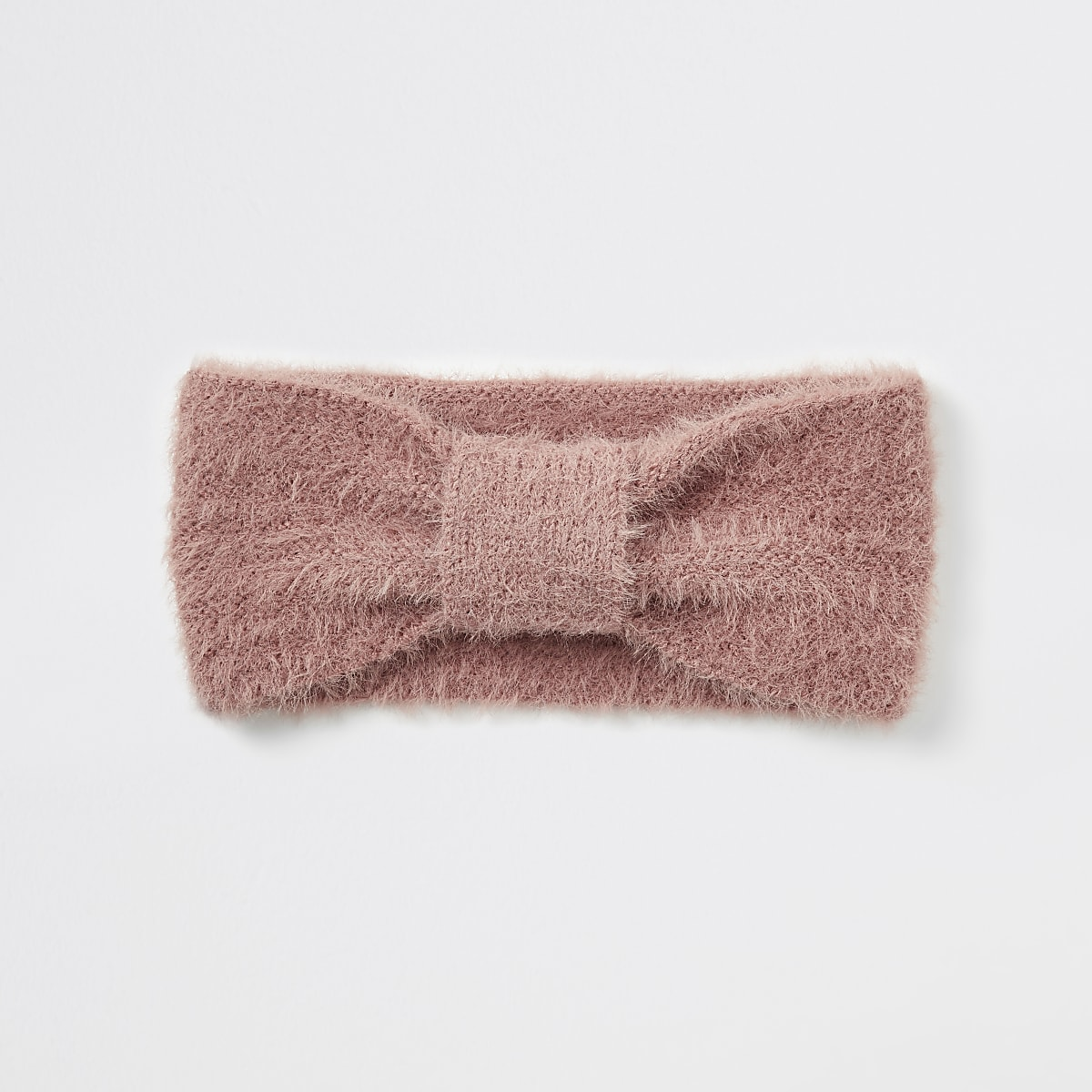 Pink bow front fluffy knit headband