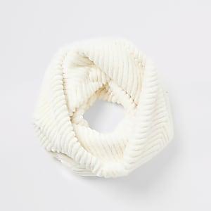 Crèmekleurige cirkelsjaal van imitatiebont met zigzag-patroon