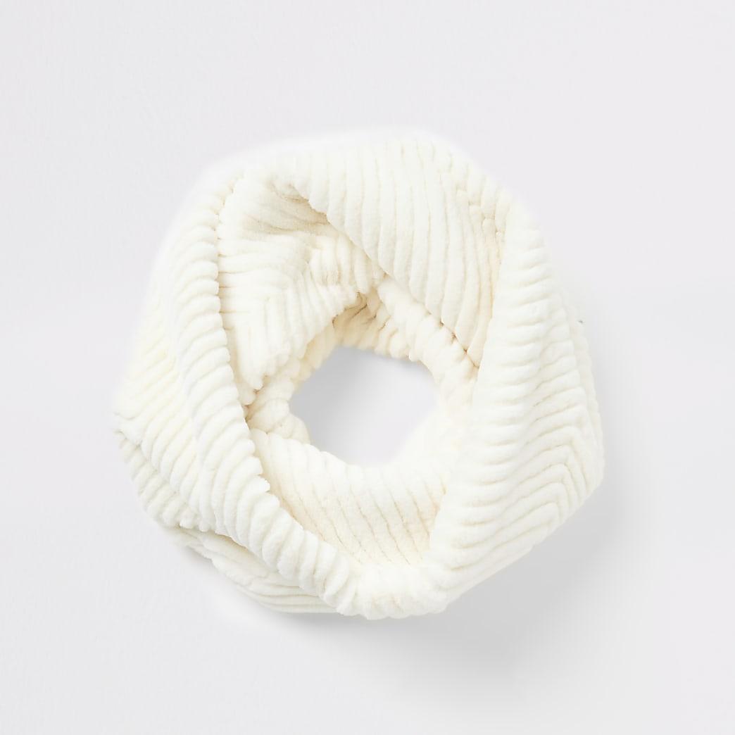 Cream cheveron faux fur snood scarf