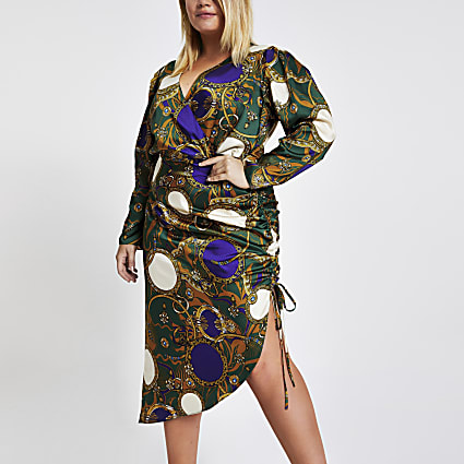 Plus green print wrap front ruched dress