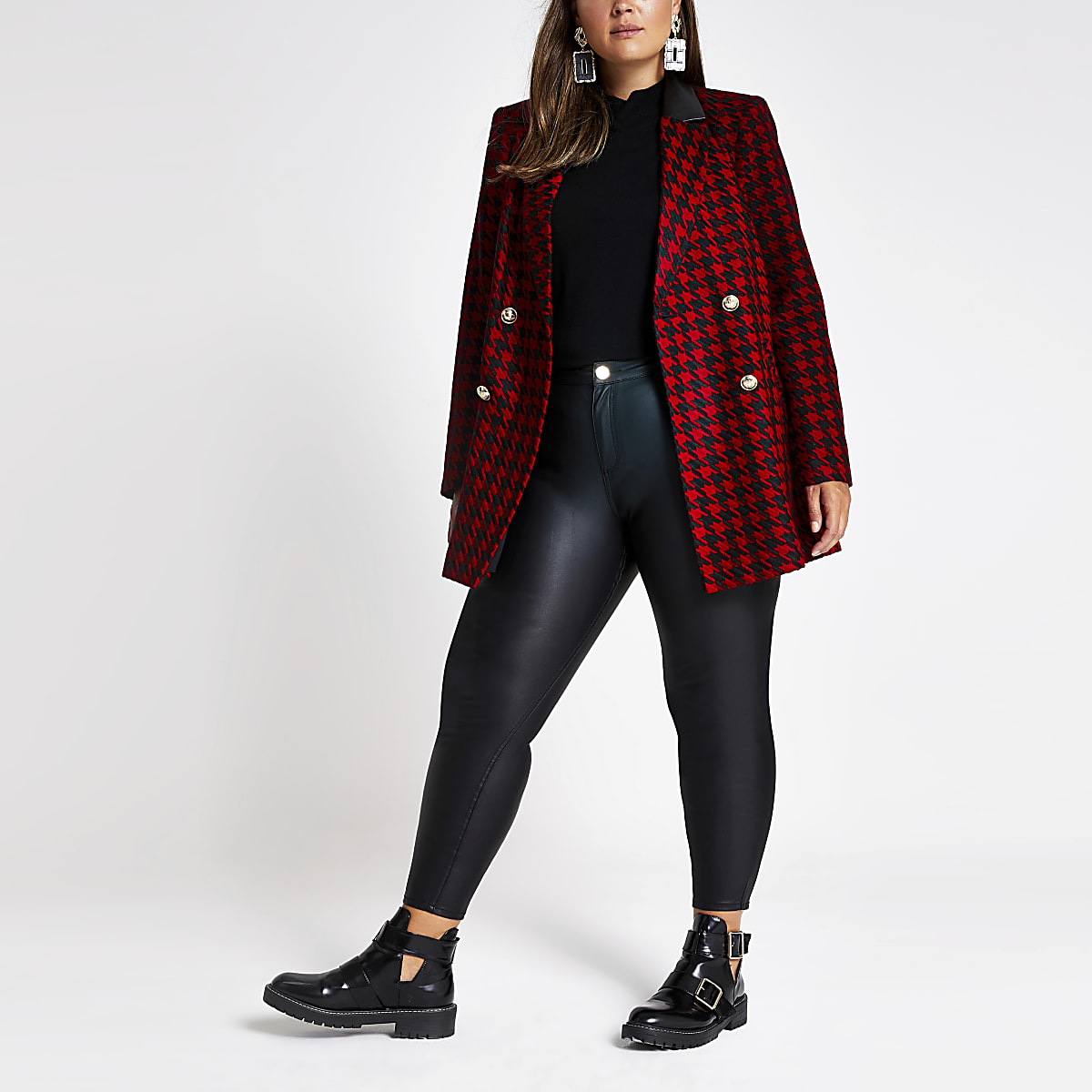 Plus red check double breasted blazer