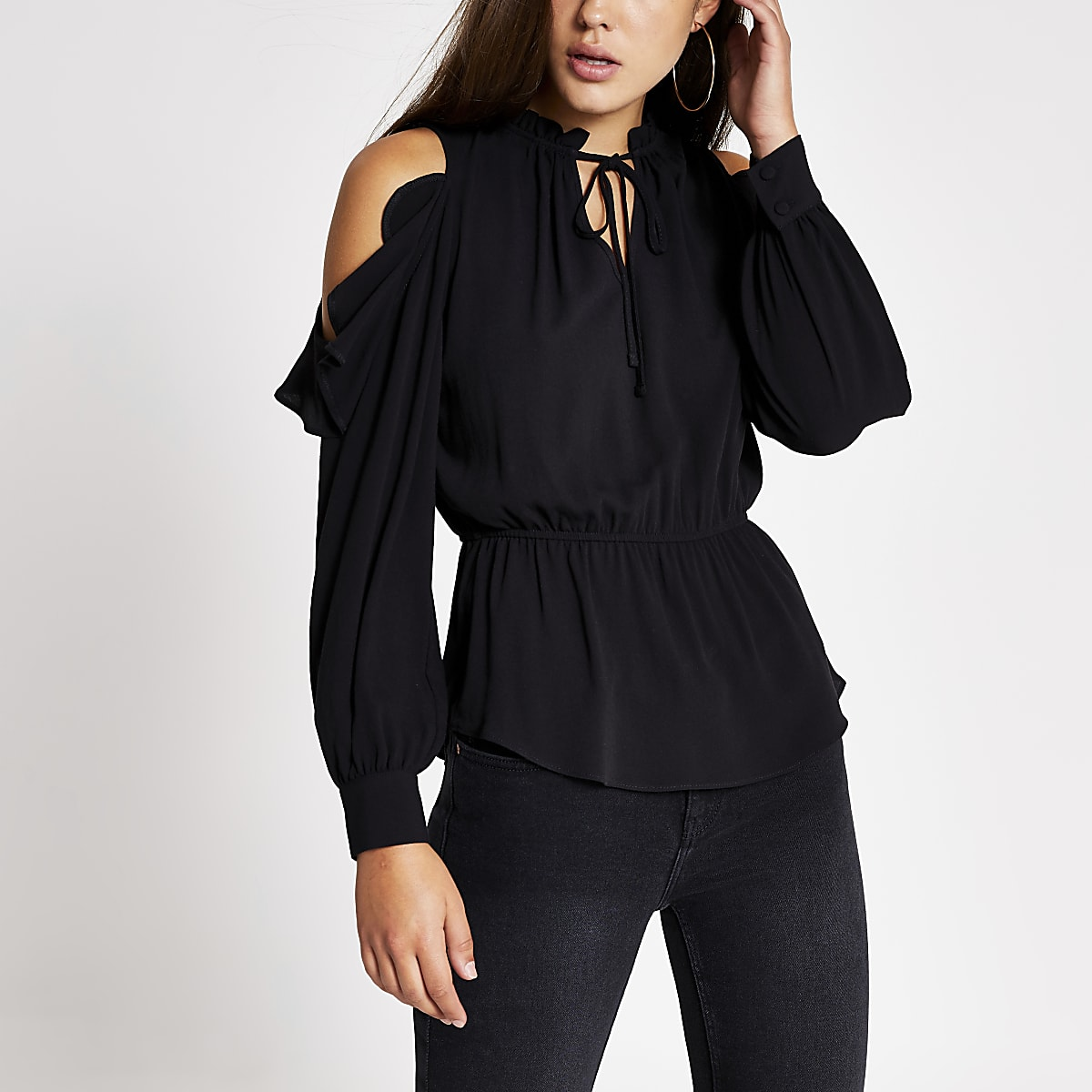 Black tie neck cold shoulder blouse
