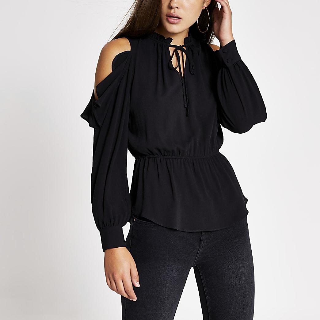 Black tie neck cold shoulder blouse