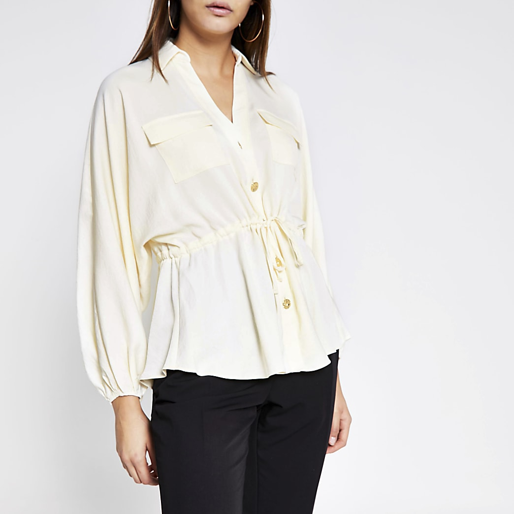 Cream long sleeve drawstring waist shirt