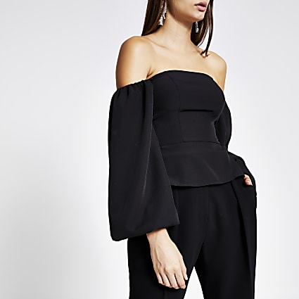 Black long puff sleeve bardot cropped top