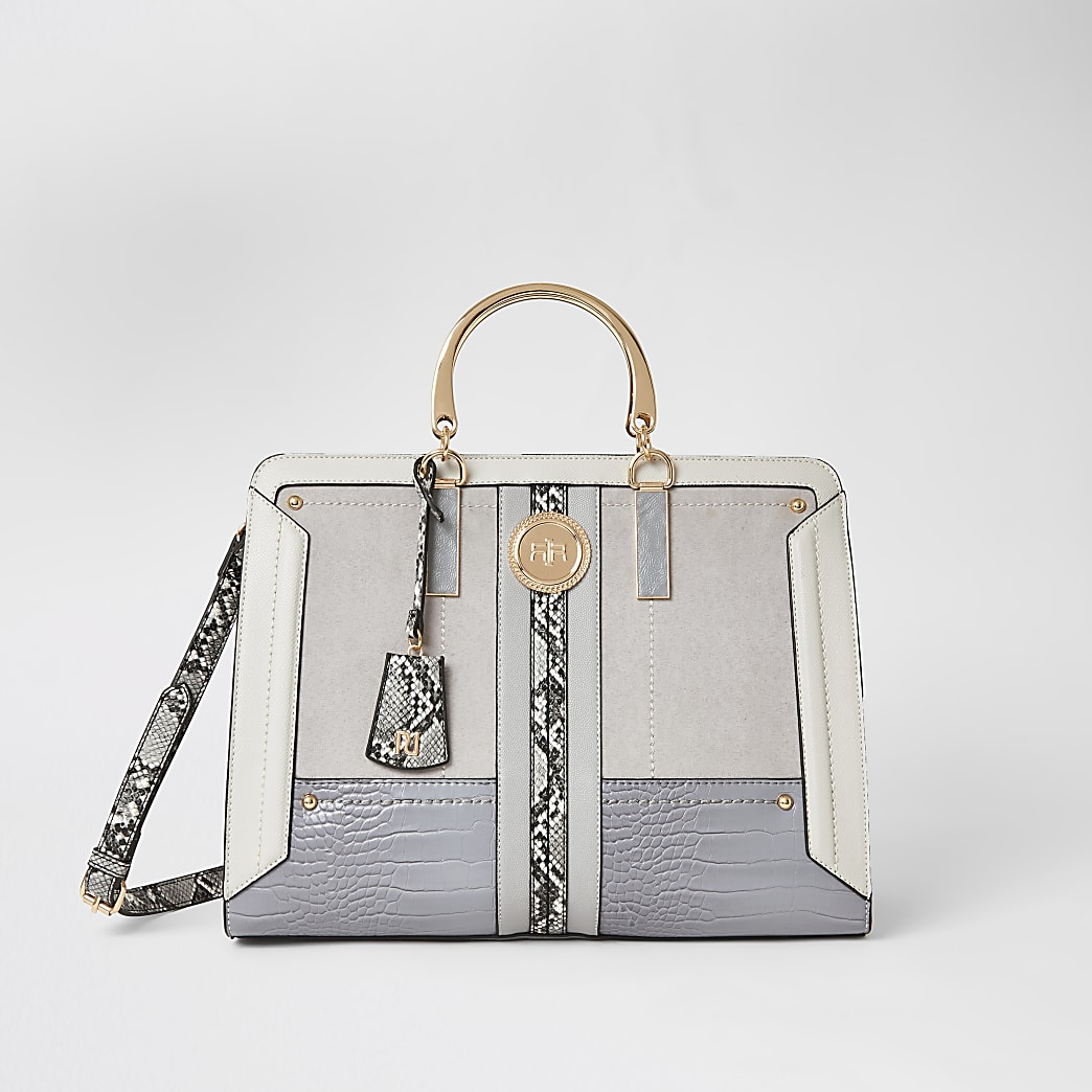 Grey snake print metal handle tote bag