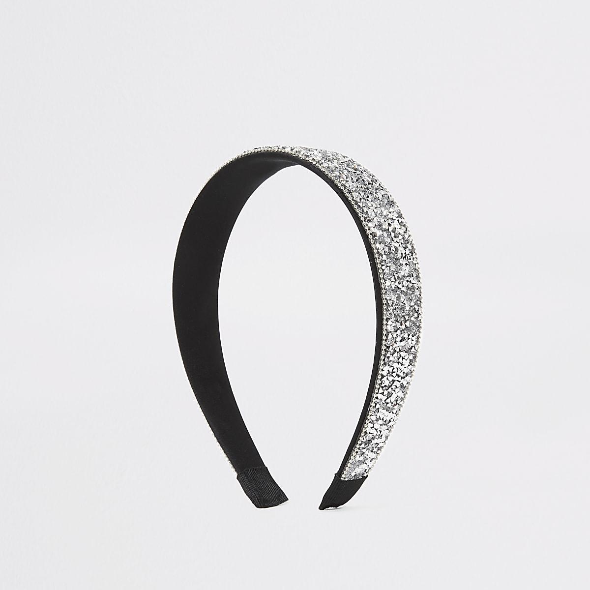 Silver colour rhinestone embellished headband