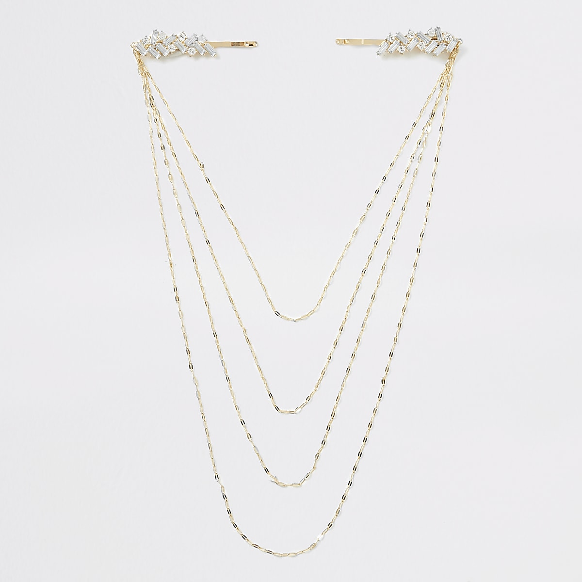 Gold colour jewel chain hair clip chain