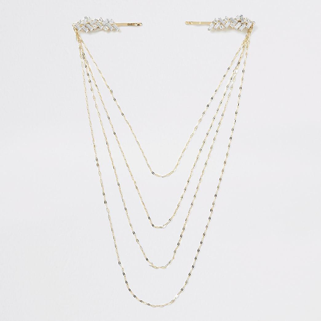 Gold colour jewel chain hair clip chain