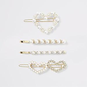Goldfarbenes Haarspangen-Set mit Perlenherz