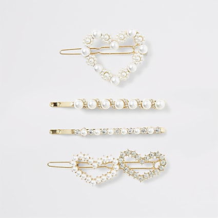 Gold colour pearl heart hair clip multipack
